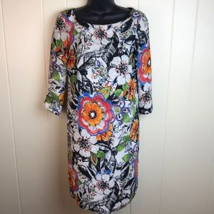 Zara Basic Multicolored Graphic Flowers Dress